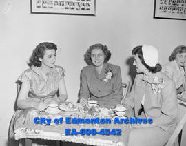 General Hospital nurses enjoy tea. L-R: Rubie Morden, Elsie Powloski, Theresa MacDonald.