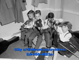 """Young musicians Tune Up and Talk"": (L-R) Broddy Olsen, Robert Ewanchuk, Ernie Shenkura..."