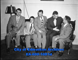 Hockey All-Stars. L-R: Bill Gadsby, (Chicago Blackhawks), Al Rollins (Edmonton Flyers), Bob Carse...