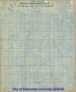 Sheet No. 123, Rural Map Directory of Tps. 38, 39, and 40 in Rgs. 7, 8, and 9, W.4th