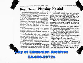 "Negative copies of news articles.  ""Real Town Planning Needed"""