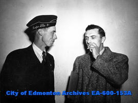 (L-R) Unidentified man and A. Tomlinson, veterans at Convention of Provincial Command, Canadian Legion, Edmonton.