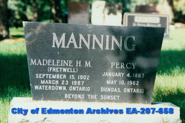 Gravestone - Percy and Madeleine Manning