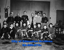 Group photograph after the 28th Edmonton Boy Scout Troop was given motor instruction by master me...