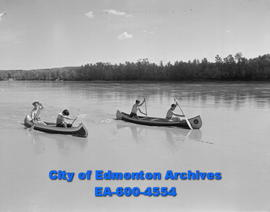 Canoe Club members paddle from Devon to Edmonton. L-R: Fred Rose, Ron Jewett, Bob Copeman and Kar...