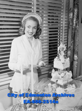 "Women's Page - ""Radiant Bride Wears Traditional White"". Dorothy Sproule back from honey..."