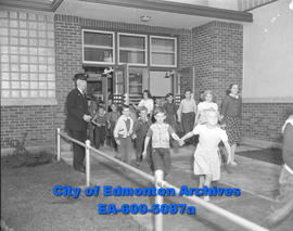 Fire drill at Forest Heights School witnessed by Fire Inspector Hugh Mackay during Fire Preventio...