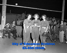 Ladies Fastball Team: Mortons players pose with pitcher Edna Squires (centre)