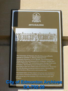 EHB Plaque for Arts Building
