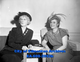 Women's Page - Community Chest drive. L-R: Mrs. Marshall Mallett, Mrs. P.J. Gaboury.