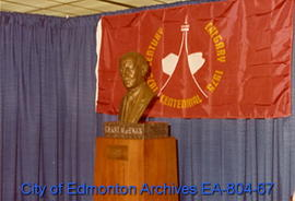 Grant MacEwan bust unveiled at at Calgary City Hall