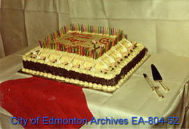 Cake presented to the City of Calgary by the City of Edmonton in honour of their 100th anniversar...