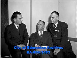 Alberta Farmers' Convention - executive members. L-R: James McFall, Roy Marier, E.H. Keith.
