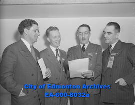 Third Annual Industrial Federation of Labour of Alberta opens. (L-R) T.A. McCloy, N.R. Riches, J....