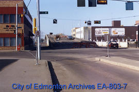 Demolition of 105 Street overpass at 103 Avenue looking north.