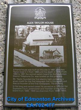 EHB Plaque for Alex Taylor House
