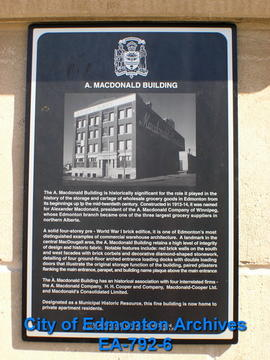 EHB Plaque for A. MacDonald Building