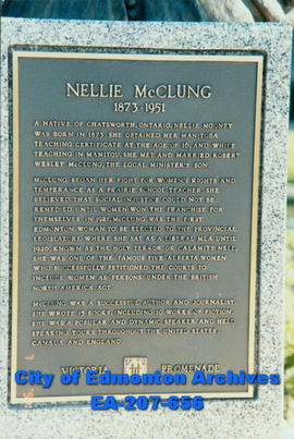 Plaque below the bust of Nellie McClung