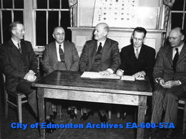 Edmonton Philharmonic Orchestra officers for the 1947 - 48 season: George Johnson, Abe Fratkin, H...