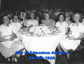 Group of girls at Alberta Motor Association dinner for School Safety Patrollers, Edmonton: (L-R) ...