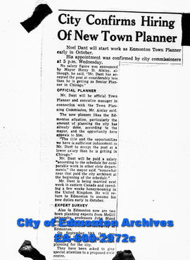 "Negative copies of news articles.  ""City Confirms Hiring of New Town Planner"""