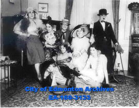 """Oh! That Night With Mae West"" - A group of women at a party dressed in movie costumes."