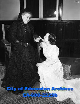 """Bridal Pageant brings back long, long ago"". L-R: Mrs. J.W. McTaggart and Alice Shymko."