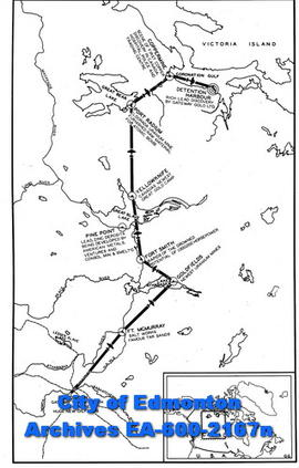 Route map to Coppermine, Northwest Territories.