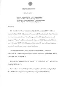 Bylaw 18517 - A Bylaw to amend Bylaw 15213, as amended by Bylaw 16611, to authorize the City of E...