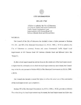 Bylaw 17769 - To authorize the City of Edmonton to construct, finance and assess Commercial Traff...