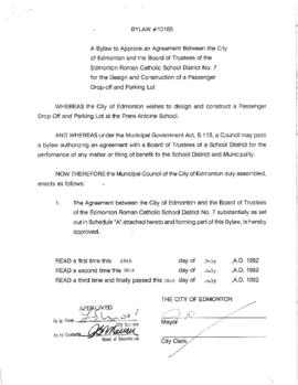 Bylaw 10185 - A Bylaw to Approve an Agreement Between the City of Edmonton and the Board of Trust...