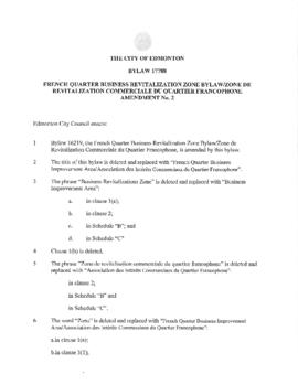 Bylaw 17788 - French Quarter Business Revitalization Zone Bylaw/ Zone de Revitalisation Commercia...