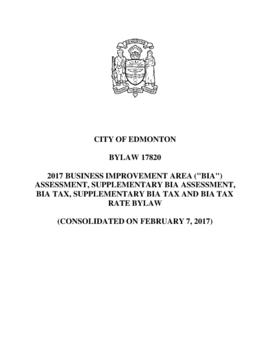 "Bylaw 17820 - 2017 Business Improvement Area (""BIA"") Assessment, Supplementary BIA Asse..."