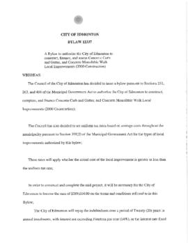 Bylaw 12337 - A Bylaw to authorize the City of Edmonton to Construct, Finance, and Assess Concret...