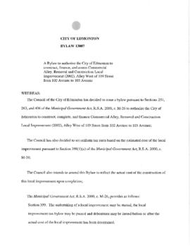 Bylaw 13007 - A Bylaw to authorize the City of Edmonton to construct, finance, and assess Commerc...
