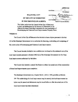 Bylaw 11477 - This Bylaw authorizes the Council of the City of Edmonton to incure an indebtedness...