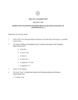 Bylaw 17784 - Edmonton Inglewood Business Revitalization Zone name change to Business Improvement...