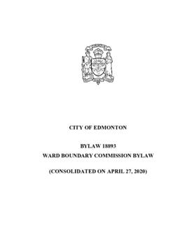 Bylaw 18893 - Ward Boundary Commission