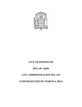 Bylaw 16620 - City Administration Bylaw