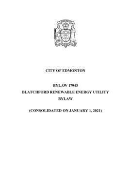 Bylaw 17943 Blatchford Renewable Energy Utility
