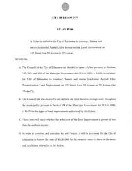 Bylaw 19246 - To authorize the City of Edmonton to construct, finance and assess Residential Asph...
