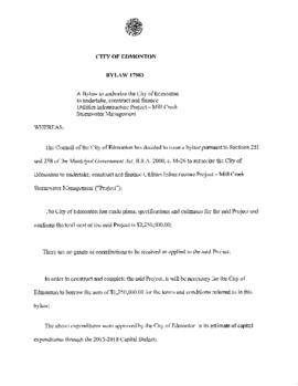 Bylaw 17983 - A Bylaw to Authorize the City of Edmonton to Undertake, Construct and Finance Utili...