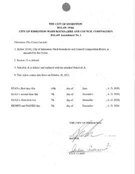 Bylaw 19366 - City of Edmonton Ward Boundaries and Council Composition Bylaw Amendment No. 3