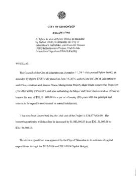Bylaw 17981 - A Bylaw to amend Bylaw 16642, as amended by Bylaw 17637, to authorize the City of E...