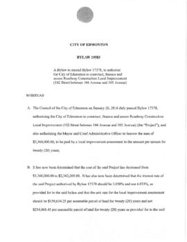 Bylaw 19583 - A Bylaw to amend Bylaw 17378, to authorize the City of Edmonton to construct, finan...