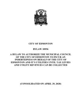 Bylaw 10956 - A Bylaw to authorize the Municipal Council of The City of Edmonton to incur an inde...