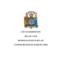 Bylaw 13138 - Business License Bylaw