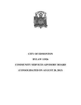 Bylaw 11926 - Community Services Advisory Board