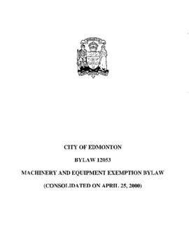 Bylaw 12053 - Machinery and Equipment Exemption Bylaw