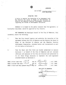 Bylaw 9353 - A Bylaw to Approve the Execution of an Agreement with Her Majesty the Queen in Right...